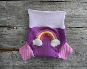 Upcycled Merino Wool Soaker Cover Diaper Cover With Added Doubler Pink/ Purple/Lavender With Rainbow Applique MEDIUM 6-12M Kidsgogreen
