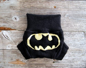 Upcycled Wool Soaker Cover Diaper Cover With Added Doubler Black With Batman  Applique NEWBORN 0-3M Kidsgogreen