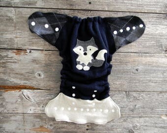 Upcycled Wool Nappy Cover Diaper Cover Wool Wrap Cloth Diaper Cover One Size Fits Most Navy Blue/ Cream & Gray/ Black  With Wolf Applique