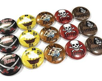 "Pirates, 1"" Button, Pirate Birthday, Pirate Theme, Pirate Party Favor, Pirate Flatback, Pirate Pin, Pirate Pinback, Pirate Button, Ship"