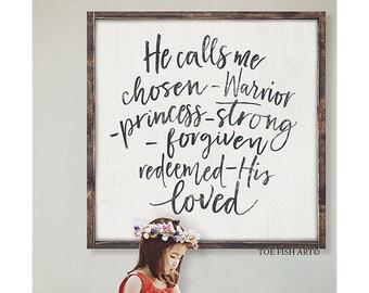 Warrior Princess, Wood Sign, Large Sign, Nursery Decor, HAND LETTERED,  Framed, Scripture Sign, Bedroom wall Art, He Calls Me, 2 x 2