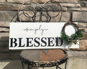 Simply blessed distressed sign with wreath