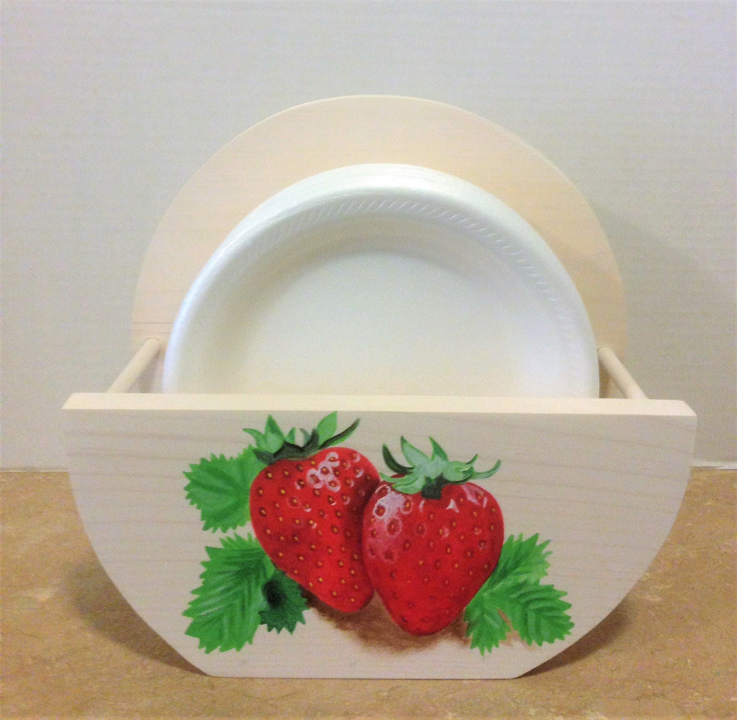 Paper plate holder strawberry decor strawberry kitchen holder for plates strawberries - Strawberry themed kitchen decor ...