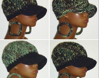 100% Cotton Camouflage2 Chunky Crochet Baseball Cap with Hoop Earrings by Razonda Lee Razondalee Ready to Ship