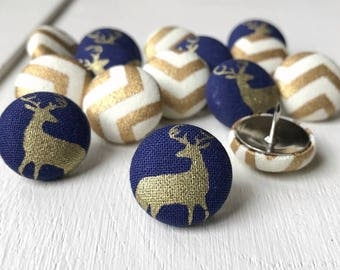 Push Pins,Pushpins,Thumb Tacks,15 Thumbtacks,Chevron,Gold and Cream Chevron,Gold Office Decor,Buck Heads,Deer,Navy,Home Decor