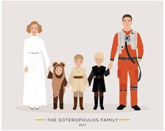 Custom Family Portrait Star Wars theme, GOT, Game of Thrones gift, Stranger Things