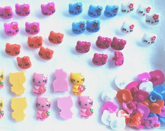 Hello Kitty Buttons, White, 2 Shades of Pink, Blue, Orange Crafting Buttons Plastic (50)
