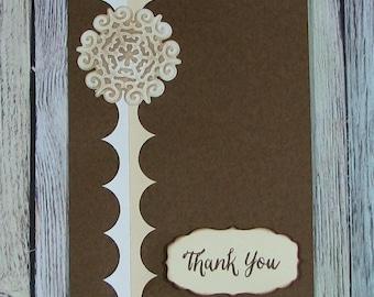 Brown and Cream Handmade Thank You card--CB81217-32