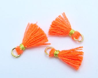 Mini Cotton Jewelry Tassels with Gold Binding and Gold Plated Jump Ring, Neon Orange Tassels, 3 pcs Approx 10mm - MT10