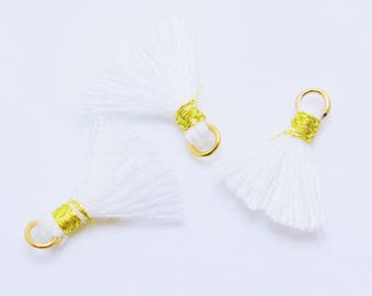 Mini Cotton Jewelry Tassels with Gold Binding and Gold Plated Jump Ring, White Tassels, 3 pcs, Approx 10mm, MT17