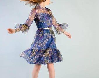 40% OFF SALE - Vintage 1970's Floral Organza Dress