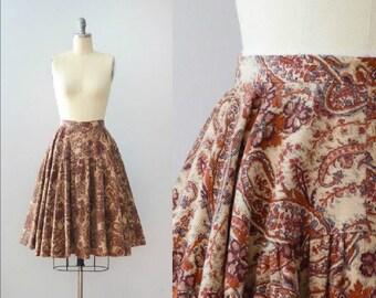 Vintage 1970's Paisley Corduroy Circle Skirt