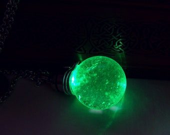 Earth Elemental Green LED Light Up Quartz Crystal Ball Pendant