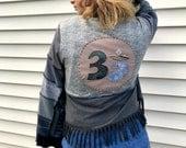 Eco Wrap Jacke, Größe S - L, Kimono-Jacke, Festival-Jacke, Boho Jacke, abgeschnitten, Hippie-Jacke, Jacke, blau Mix mit Om-Applikationen, Zasr