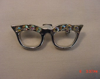 Vintage Rhinestone Accented Cats Eye Glasses Brooch  18 - 602