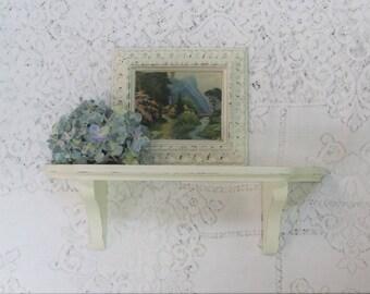 Vintage Wall Shelf, Antique White Shabby Cottage Chic Wood Shelf