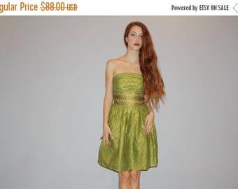 On SALE 35% Off - 1960s Vintage Green Iridescent Metallic  Ethnic Indian Strapless Short Cocktail 60s Party Dress - 60s Dress - Vintage Sari