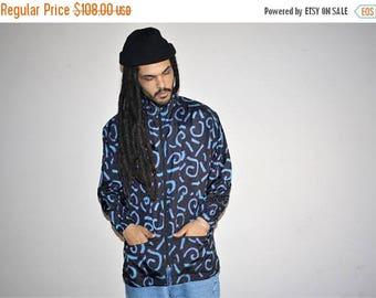 On SALE 35% Off - Long Tribal Graphic 1990s Vintage Reebok Colorblock Hip Hop Windbreaker Jacket - 90s Clothing - MV0411