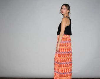 FLASH SALE - Vintage 1960s Tribal Hippie Rainbow Festival Maxi Skirt  - Vintage Maxi Skirts - Vintage Long Skirt  - W00326