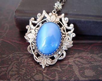Luna --- Vintage rose red glass jewel aged brass victorian necklace G052