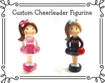 Custom Cold Porcelain Clay Cheerleader Cake Topper, Personalized Cheerleader Figurine, Football Cake Topper, Cheerleader Girl Keepsake, Gift