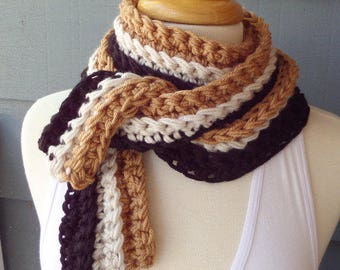 NEW ... PATTERN S-025 / Crochet Pattern / Skinny Scarf ... stash buster, aran doubled or super chunky