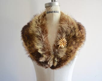 Multicolor Brown Caramel FOX Fur Collar Beautiful Rich Scarf Fashion Street Style