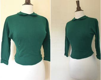 vintage forest green bombshell top with peter pan collar size XS or S 1950s