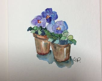 Potted Pansies Watercolor Card / Hand Painted Watercolor Card