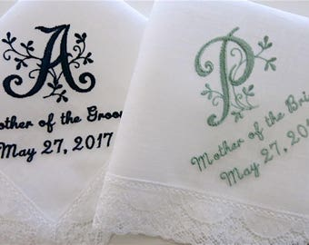 Floral Wedding Handkerchiefs, Wedding hankerchiefs, wedding hankies, mother of the bride handkerchiefs, bride and groom names wedding hankie