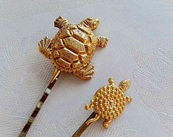 Turtle Bobbies, Hair Accessories, Gold Brass Turtles, Gift for Her