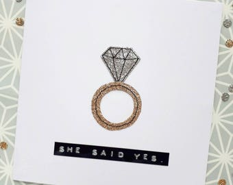 Engagement card, congratulations on your engagement card, diamond ring card, engagement ring handmade card
