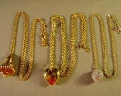 RESERVED FOR LAURA - Vintage Lot Joan Rivers Yellow Gold Plated 3 Pendant Necklaces 9284