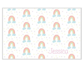 Personalized placemat Reversible rainbows and hearts custom name monogram blue pink