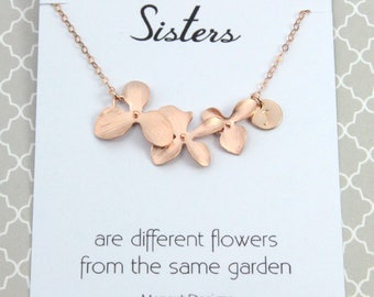 Personalized Sisters flower Necklace, Bridal Wedding Gift, Rose Gold Orchid Flower Necklace, Bridesmaids Gift, Avail. in Silver and Gold