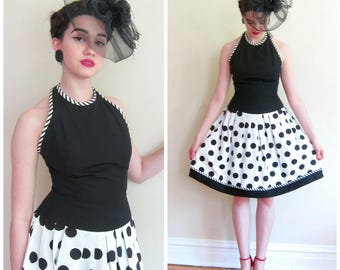 Vintage 1980s Party Dress Black and White Polka Dot Halter Top AJ Bari / 80s Open Back Drop Waist Cocktail Dress Saks Fifth Ave