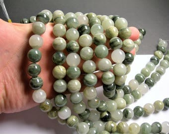 Green line quartz - 14mm round beads -1 full strand - 29 beads - A quality - RFG720