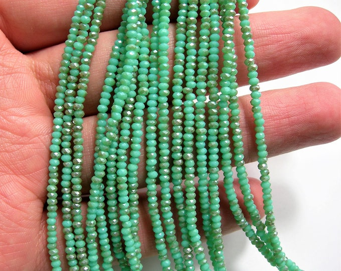 Crystal - rondelle  faceted 1mm x  2mm beads - 195 beads - aqua turquoise dual tone ab - full strand - VSC26