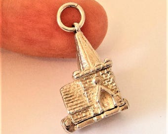 Opening Church Wedding Charm... Sterling Silver... Hinged... Signed NUVO (a)
