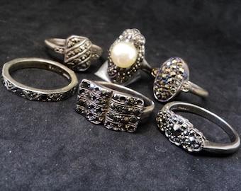 Real Silver Marcasite Lot... Six Vintage Rings... For Repair Repurpose... 925 Sterling