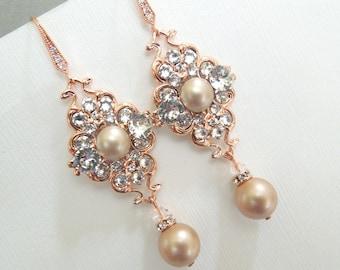 Champagne Pearl Earrings Bridal Earrings Swarovski Pearls Pearl Rhinestone Earrings wedding Earrings rose gold Rhinestone Earrings CLAUDE