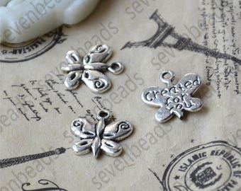 20 pcs Butterfly Charms Antique silver Tone butterfly Charm,butterfly Charms Fingdings pendant,jewelry pendant finding