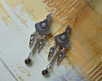 Silver Ethnic Boho Earrings (3936)