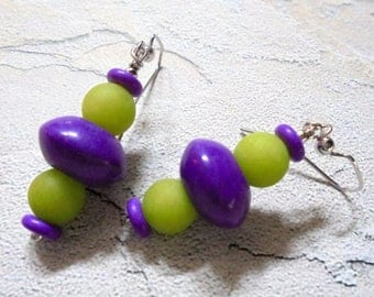 Purple and Lime Green Boho Earrings (4036)