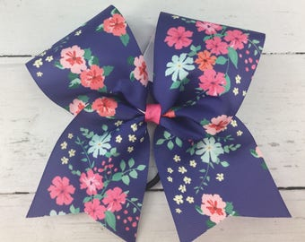 1 Cheer Bow, Girls Large Cheer Bow, Floral Print Cheer Bow, Vintage Floral Bow, Navy Pink Floral