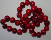 20 RED Tagua Nut Beads, 12mm Round Beads, Organic Beads, Vegetable Ivory Beads, Natural Beads, EcoBeads