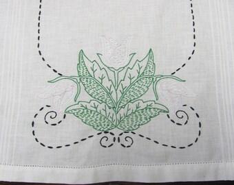Vintage Hand Embroidered Green Lavender Tulips Floral Table Runner Dresser Scarf