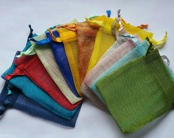 25 6x9 Organza Bags Mix of minimum 8 colors Sachets handmade soap, bath salt, beads, herbs, favor bag, wedding, sample