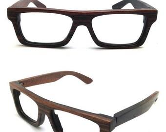 20% off SUMMER SALE KNIGHT very square handmade  Ebony wood prescription sunglasses  glasses Takemoto