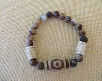 Brown And Cream Carved Clay Beads And Brown Striped Agate Stretch Bracelet